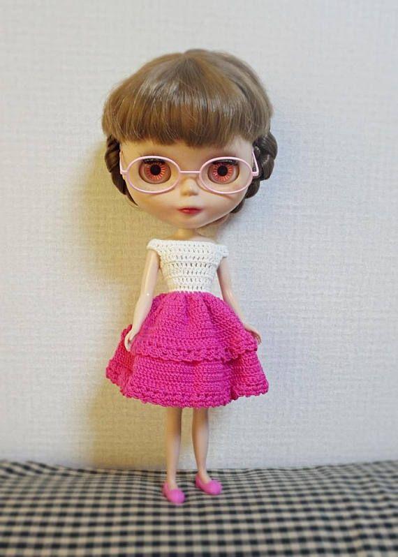 blythe dress crochet doll clothes   pink & white