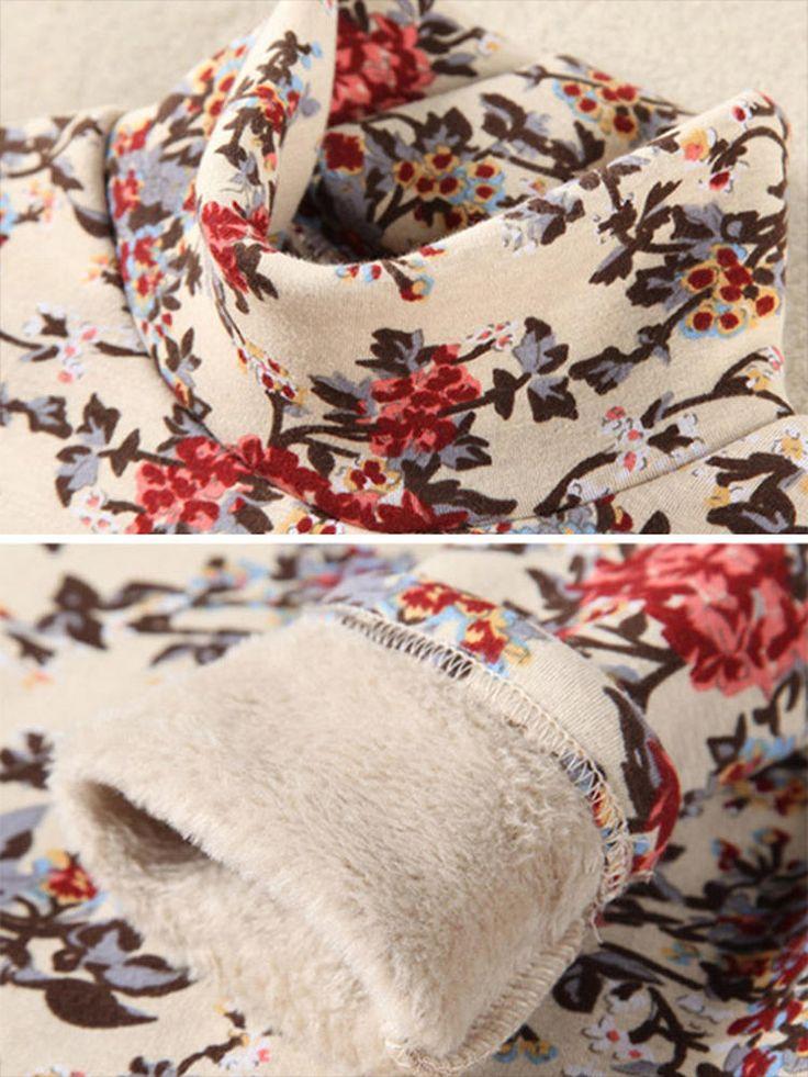 Floral Printed Long Sleeve Turtleneck Casual Women Velvet Bottoming T-shirt at Banggood