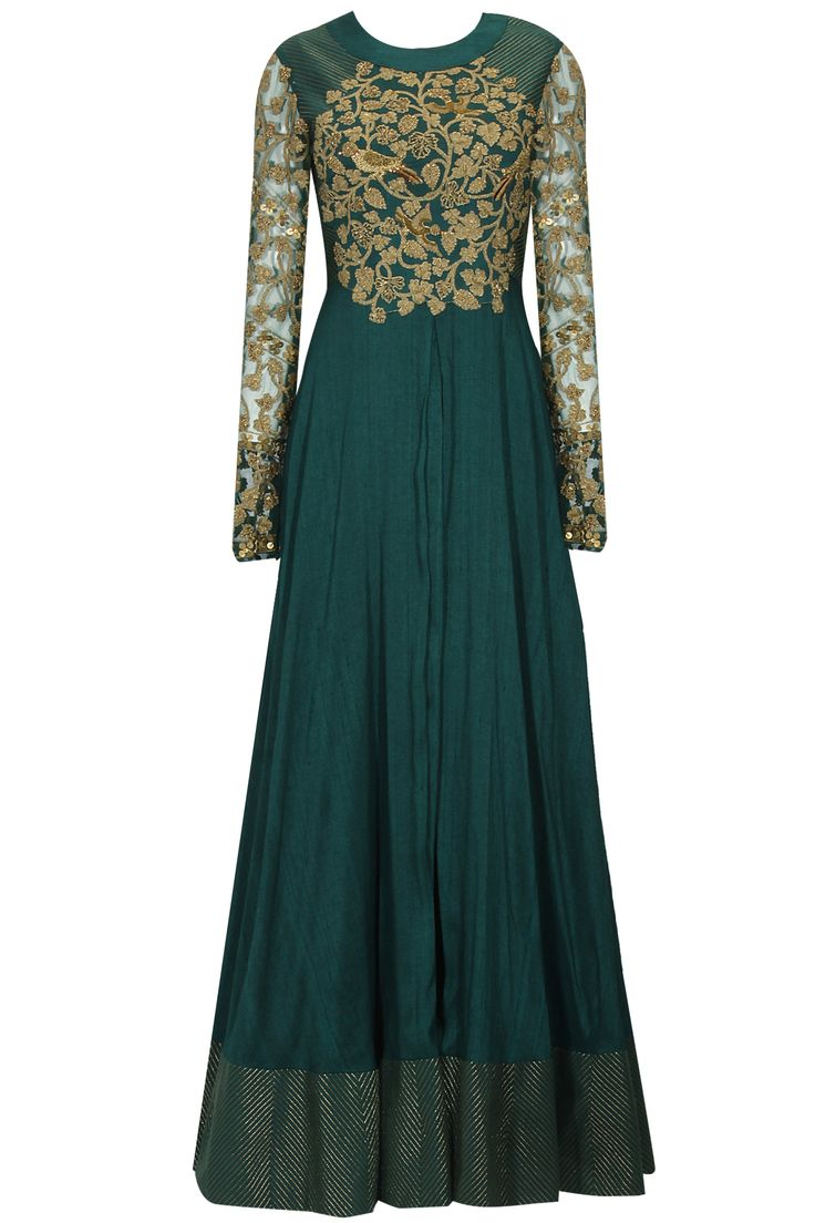 Emerald zari floral embroidered anarkali set available only at Pernia's Pop Up Shop.