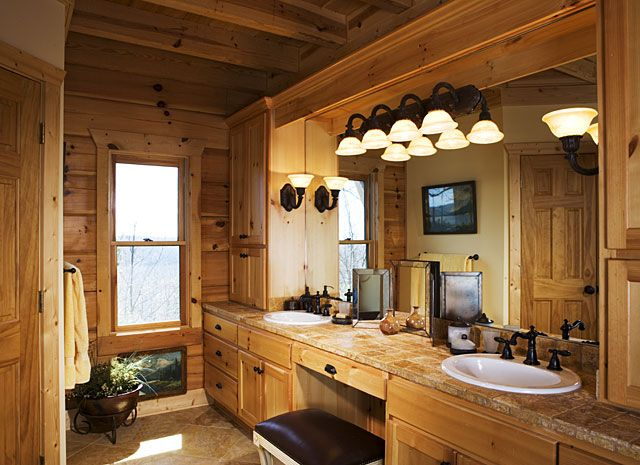 127 best images about master bath on pinterest for Log cabin bathroom design ideas