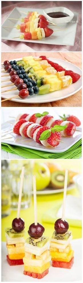 Wedding - pratos de espetinhos de frutas com ganache por mesa de convidados
