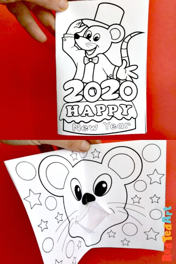 Year Of The Rat Colouring Page Pop Up Card Chinese New Year