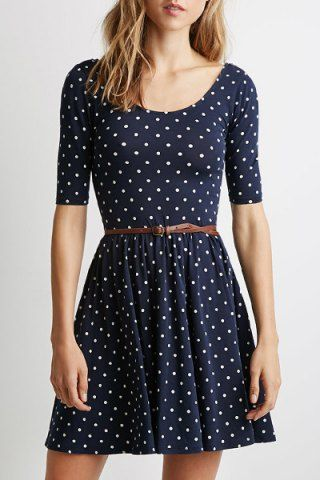 Graceful Scoop Collar Half Sleeve Polka Dot Backless Women's Dress Casual Dresses | RoseGal.com Mobile