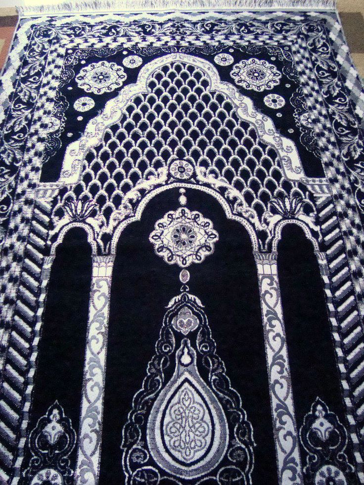Black Islamic Prayer Rug Carpet Mat Namaz Salat