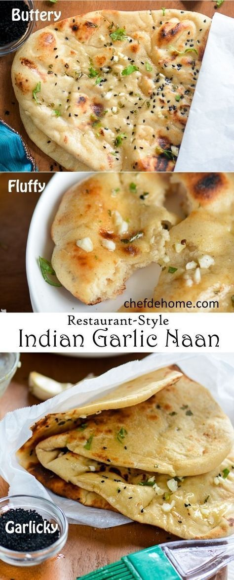 Indian Garlic Naan Bread for Easy Indian Dinner at Home | http://chefdehome.com