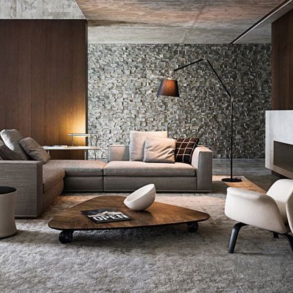 modern interior - I love that wall and coffee table