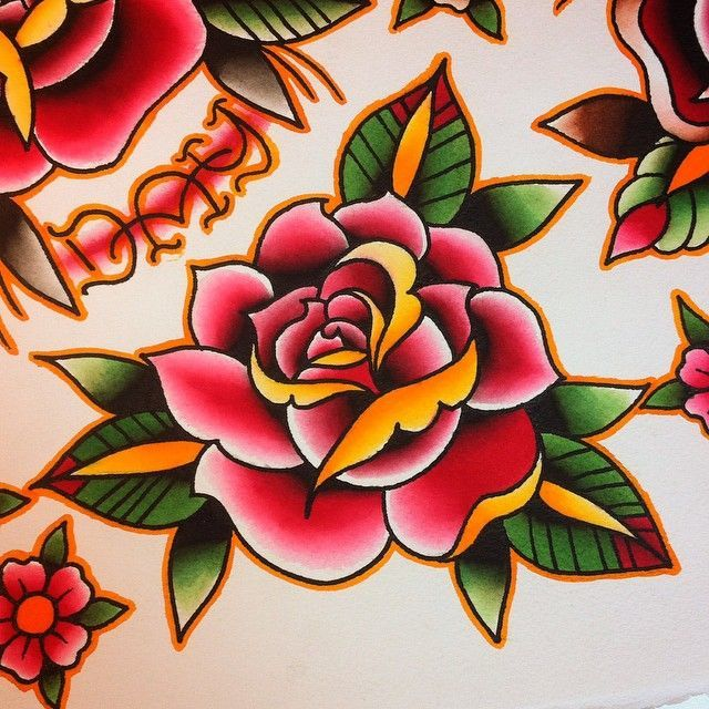 Flores Oldschool Traditional Rose Tattoos Old School Tattoo Designs Flower Tattoo Designs