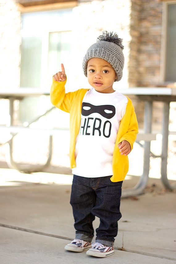Hero Tee- Modern Hip Kids Graphic TShirt - Boys Clothing or Girls Clothing - Kids Unisex T-Shirt - American Apparel Toddler T Shirt