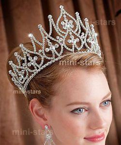 Bridal Large Pageant Tall Tiara Crown Use Swarovski Crystal AT1581 | eBay