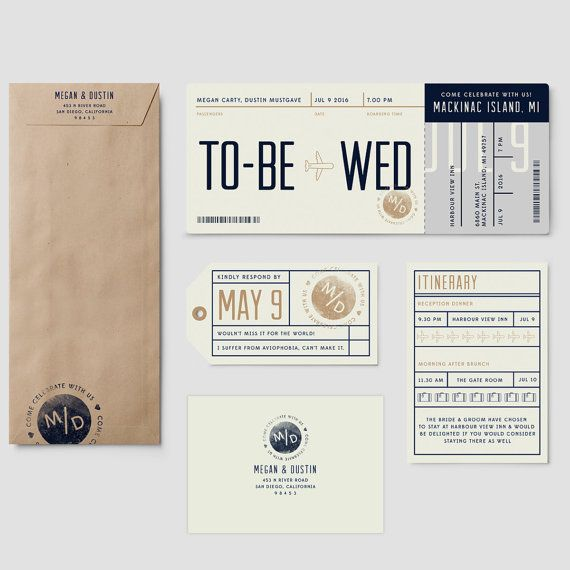 "Boarding Pass destination wedding invitation suite, ""To be Wed"", plane ticket wedding invitation; SAMPLE ONLY"