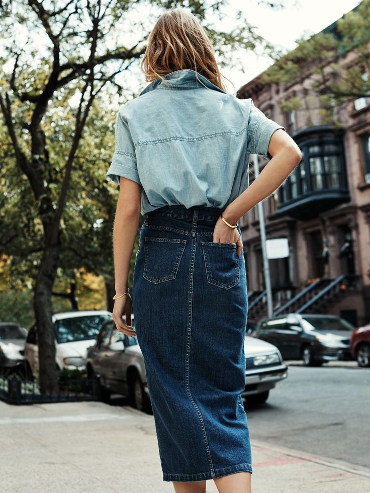 madewell denim timeline skirt worn with the chambray courier shirt.