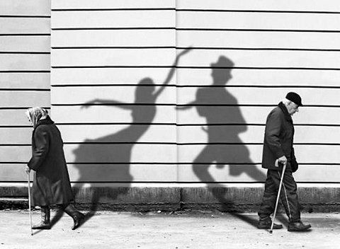 I very often look at old people and wish I knew their story...what were they like and what did they like when younger.    Cute