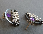 Sterling Silver Post Earrings with Amethyst EA9