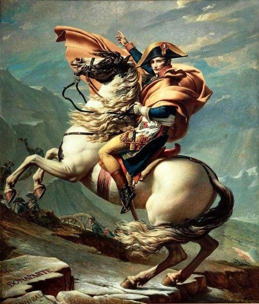 지지와 비판: 같은 혁명, 다른 관점: <생베르나르 고개를 넘는  보나파르트, 다비드> 신고전주의자로 프랑스 혁명의 전폭적인 지지자 다비드는 나폴레옹의 정치 체제에 협력하고, 그의 대관식을 그리는 등 그의 활동을 지지, 찬양하고 심지어 본래 다리가 짧아 나귀를 타고 생베르나르 고개를 넘은 것을 위의 그림으로 영웅적으로 미화화였다.