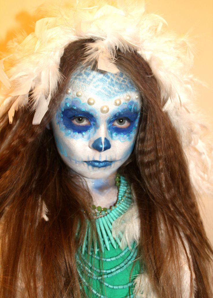 Halloween Sugar Skull makeup face painting CREATIVE Hair and Makeup HMUA:  Michelle Butler