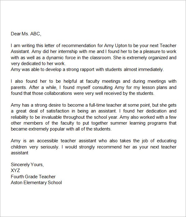 teacher letter of recommendation recommendation letter for assistant 11905 | 807ed3b456c0677031edd6beb0c8c5dd