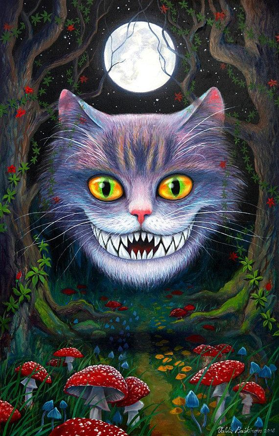 Cheshire Cat Horror Painting Alice In Wonderland Original Etsy In 2021 Wonderland Artwork Alice In Wonderland Artwork Alice In Wonderland Poster