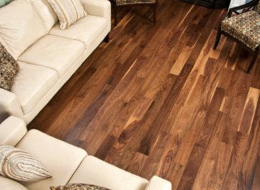American Walnut is one of the most highly sought after domestic hardwood flooring choices. The heartwood used in this flooring choice is composed of luxurious chocolate browns that fill a room with rich color.