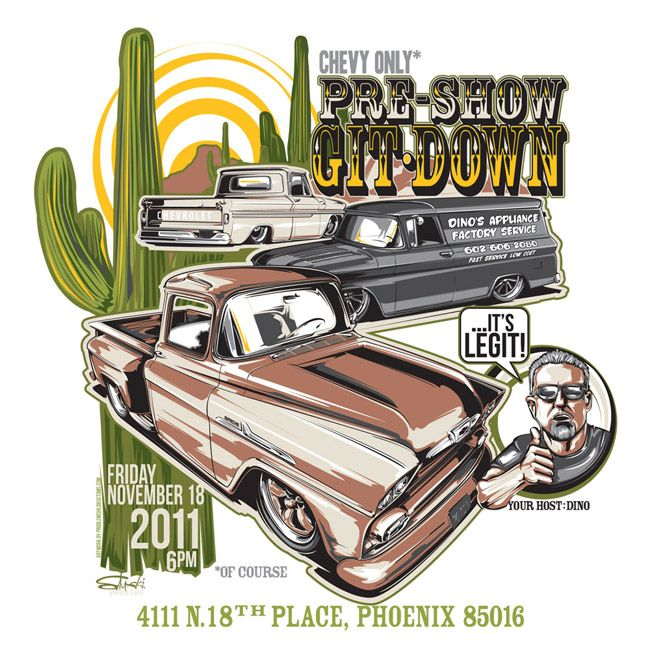 Local car show/party poster and t-shirt design and artwork.