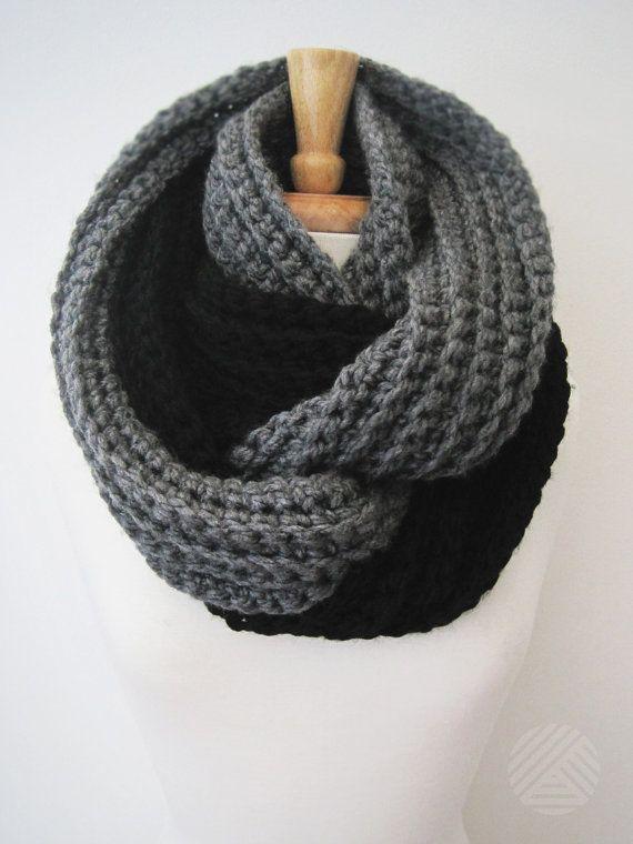 CROCHET INFINITY SCARF Two Toned Knit Eternity by DeBrosseNYC, $64.00