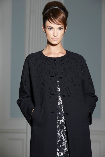 Louise Kennedy - Collection Jelena Crepe Coat with Jet Beadwork/Jamie Ivory/Black Lace Dress