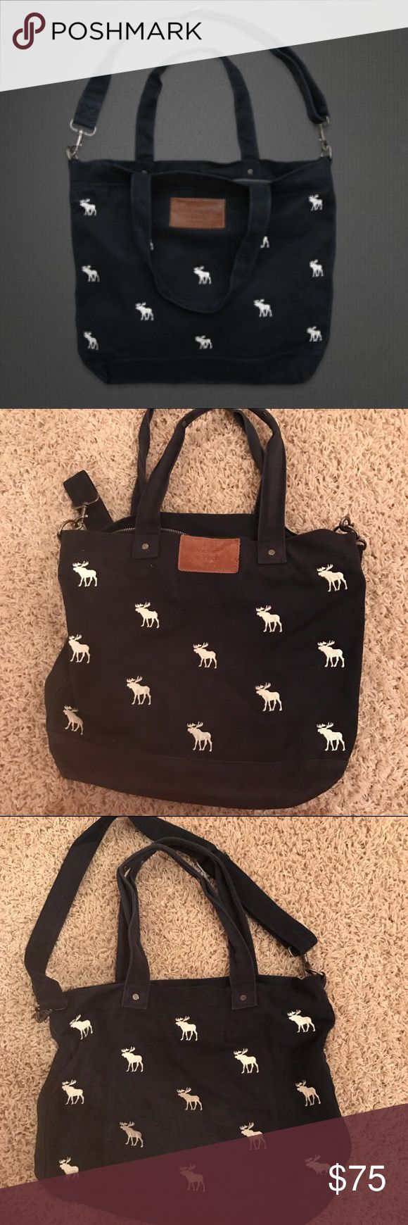 Abercrombie & Fitch Flagship Exclusive Tote Excellent condition. Lining is very clean. Moose pattern all over front and back of bag. Inside pocket. Crossbody strap. Zip closure. Abercrombie & Fitch Bags Totes