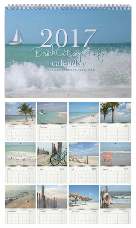 "2017 Beach Calendar ""Pure Beach"". Each month's 8.5x11"" photo printed on heavy card stock. Great teacher gift or hostess gift! Coastal Quotes version available too..."