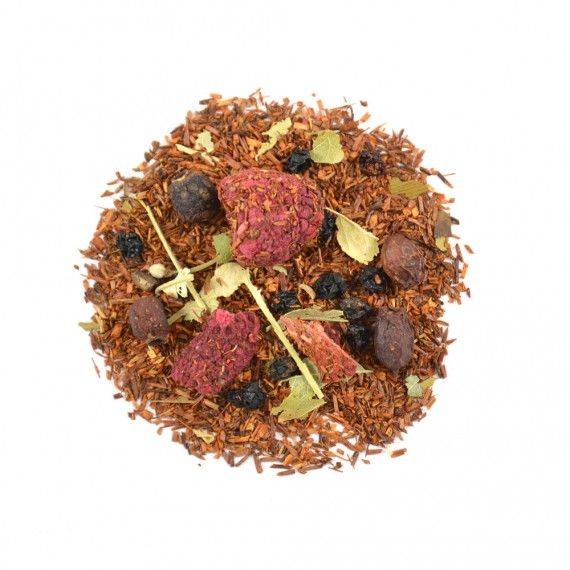 Hot Berry is een ontspannende en gezonde combinatie van rooibos met hagedoorn, vlierbessen en echte stukjes van frambozen en aardbeie.