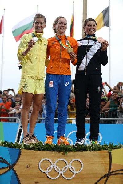 L-R) Silver medalist Emma Johansson of Sweden, gold medalist Anna van der Breggen of the Netherlands and bronze medalist Elisa Longo Borghini of Italy pose for a photo on the podium following the Women's Road Race on Day 2 of the Rio 2016 Olympic Games at Fort Copacabana on August 7, 2016 in Rio de Janeiro, Brazil.
