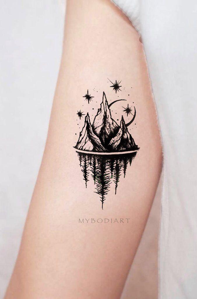 Acaia Small Black And White Nature Mountain Trees Stars Temporary Tattoos Tattoos For Women Small Tattoos For Women Trendy Tattoos