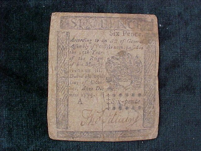 American Colonial Continental Currency, #1009 Six Pence Denomination #forextrading