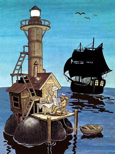 Konsttryck av Jan Lööf - Fyrväktaren