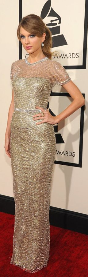 Taylor Swift  wearing a shimmering Gucci dress at the Grammy Awards 2014