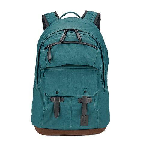 green backpack with black zips Nixon