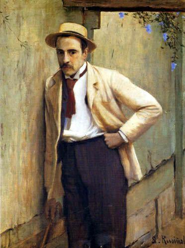 Santiago Rusiñol (Spanish, 1861-1931) : Retrato de Pintor Ricard Planells, 1891…