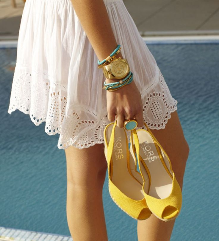 kors: Pop Of Color, Summer Styl, Yellow Shoes, Michael Kors Watches, White Lace, The Dresses, Accessories, Spring Style, Style Tips
