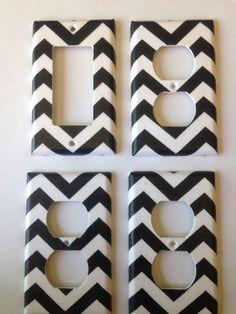 Black and White chevron striped single by COUTURELIGHTPLATES, $14.95 bedroom decor, bathroom decor , shabby chic, teen room decor