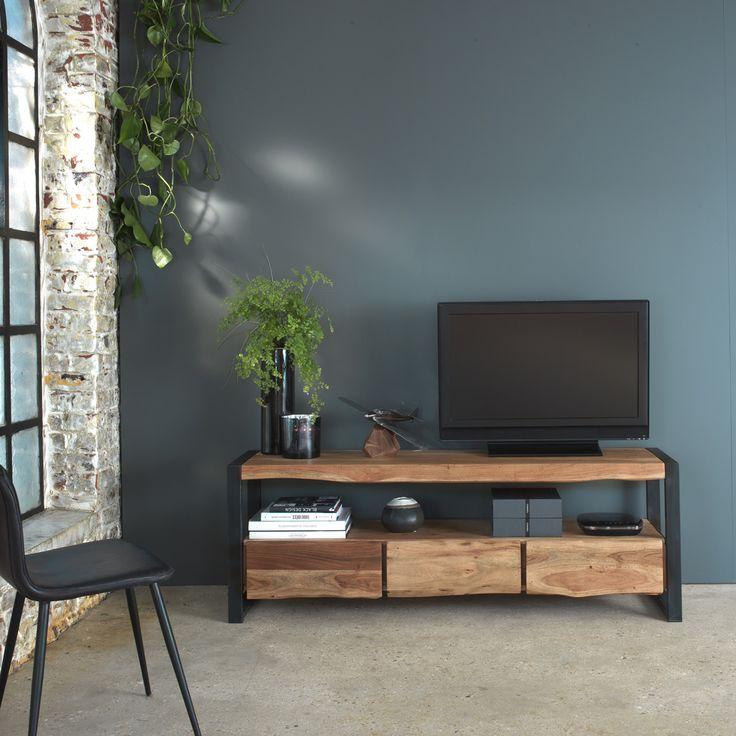 Meuble tv style tronc arbre pieds m tal 3 tiroirs in 2019 d co maison meuble tv meuble - Meuble tronc arbre ...