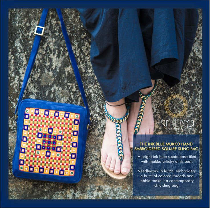 THE INK BLUE MUKKO HAND EMBROIDERED SQUARE SLING BAG. A bright ink blue suede base tiled with mukko artistry at its best. Needlework in Kutchi embroidery a burst of colored threads and abhla make it contemporary chic sling bag. Connect on +91 9820530692 / 9820530664 or mail on sonal@kritikauniverse.com #kritikauniverse #blue #kutchi #embroidery #abhla #square #sling #bag