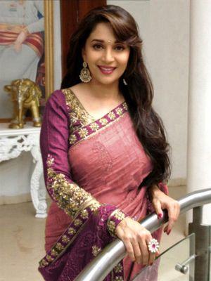 Madhuri Peach Bollywood Designer Beautiful Sarees Bollywood Sarees Online on Shimply.com