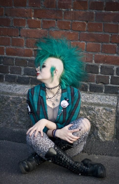 Teal colored mohawk hair!
