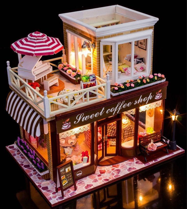 Sweet Coffee Shop France Style DIY Doll house 3D Miniature Light+Wood Handmade…