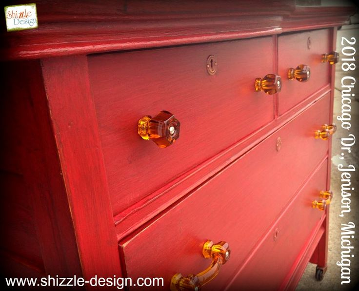 HOLLAND, Michigan FOR SALE ~ Little Red Vintage Oak Dresser Hand Painted In  Chalk U0026