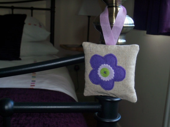 Lavender Bag with lilac felt flower by moody by moodycowdesigns, $9.75