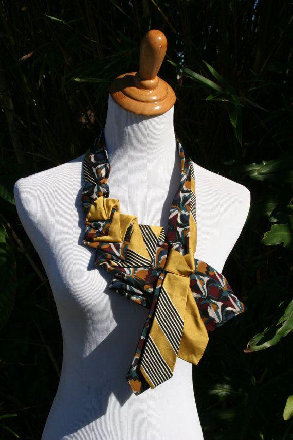 RecycledNeckties collier cravate ANTIQUE OR par RecycledNeckties