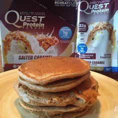 """Get your pancake fix with a sweet & salty stack of awesome. These Quest Nutrition Salted Caramel Pancakes are screaming """"make me now!"""" Recipe by @itsjillyg. Ingredients: 1 serving Quest Salted Caramel Protein Powder 1/2…"""