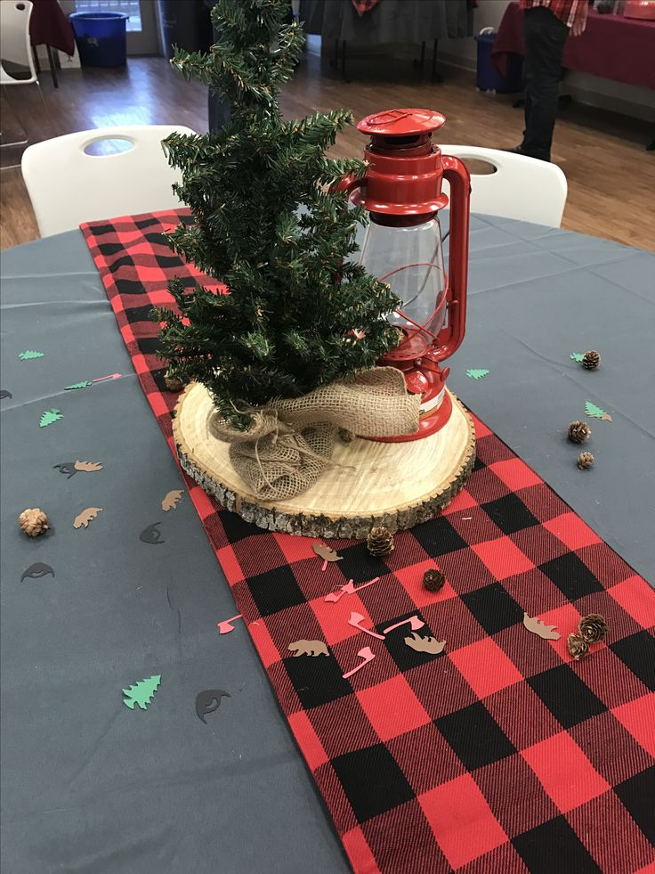 Lumberjack First Birthday Party Table Centerpiece