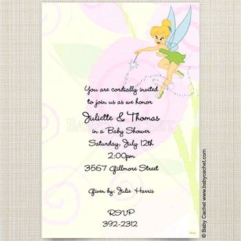 Disney Tinker Bell Fairy Baby Shower Invitations
