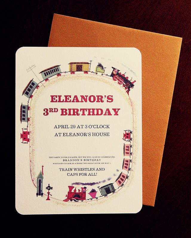 free printable train party invitations from Making