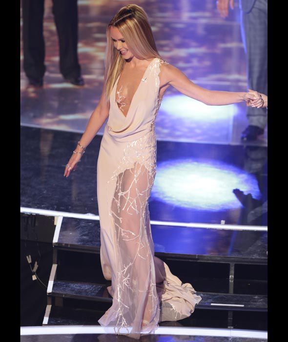 Amanda Holden wears a very revealing dress on the Live finals of Britain's Got Talent